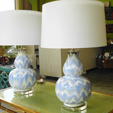 Blue Amp White Ikat Double Gourd Ceramic Vase Lamp W Shade