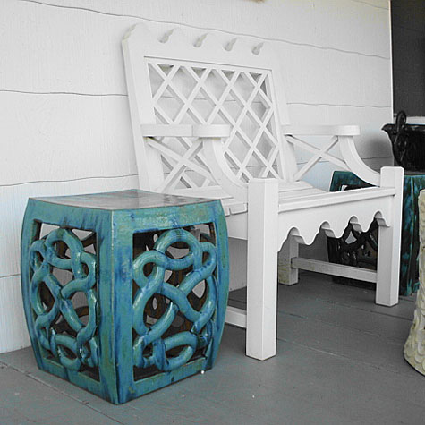 & Glazed Square Garden Stool u0026 Lattice Garden Bench islam-shia.org
